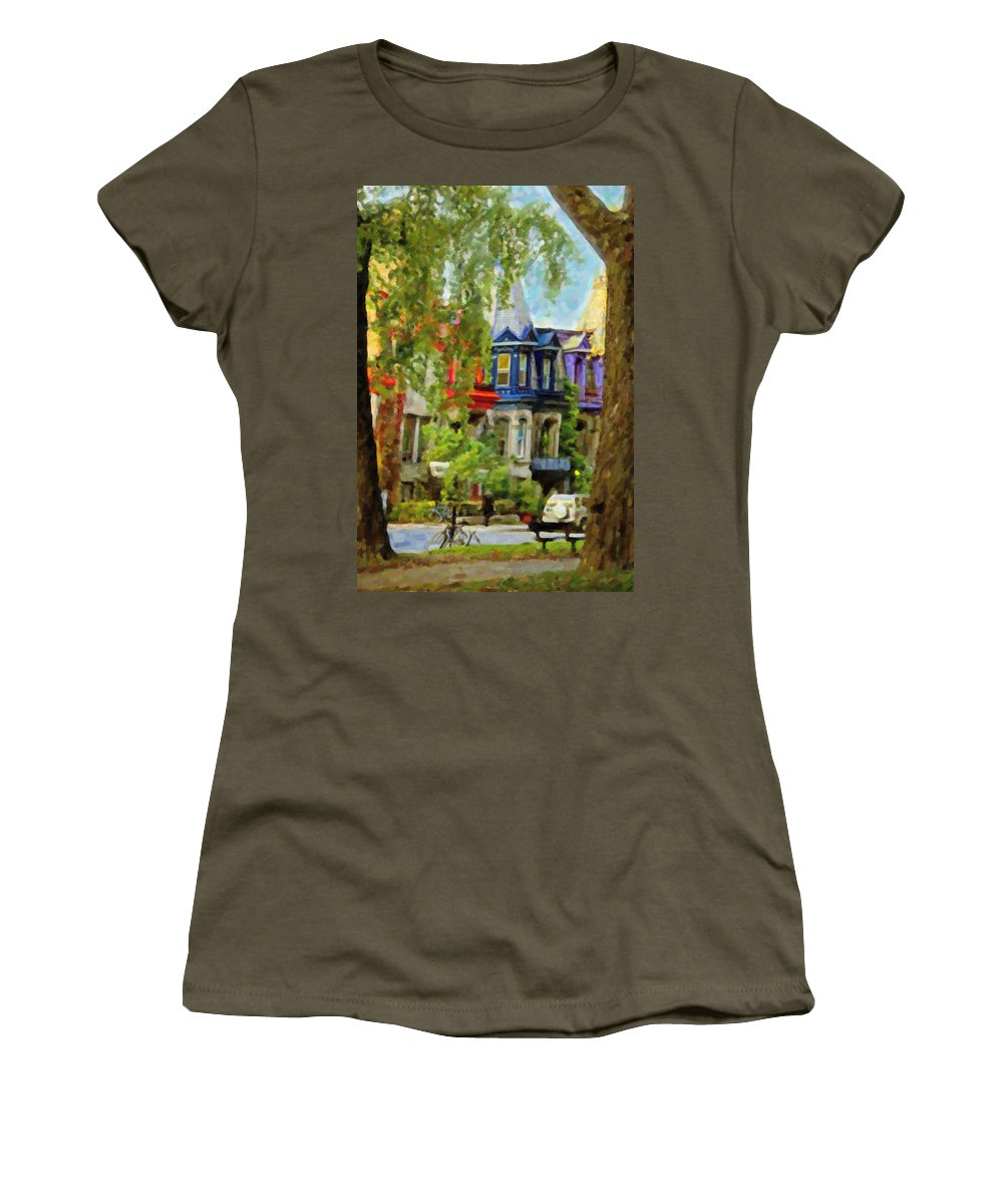 Montreal Women's T-Shirt (Athletic Fit) featuring the digital art Montreal Architecture 2 by Diane Dugas