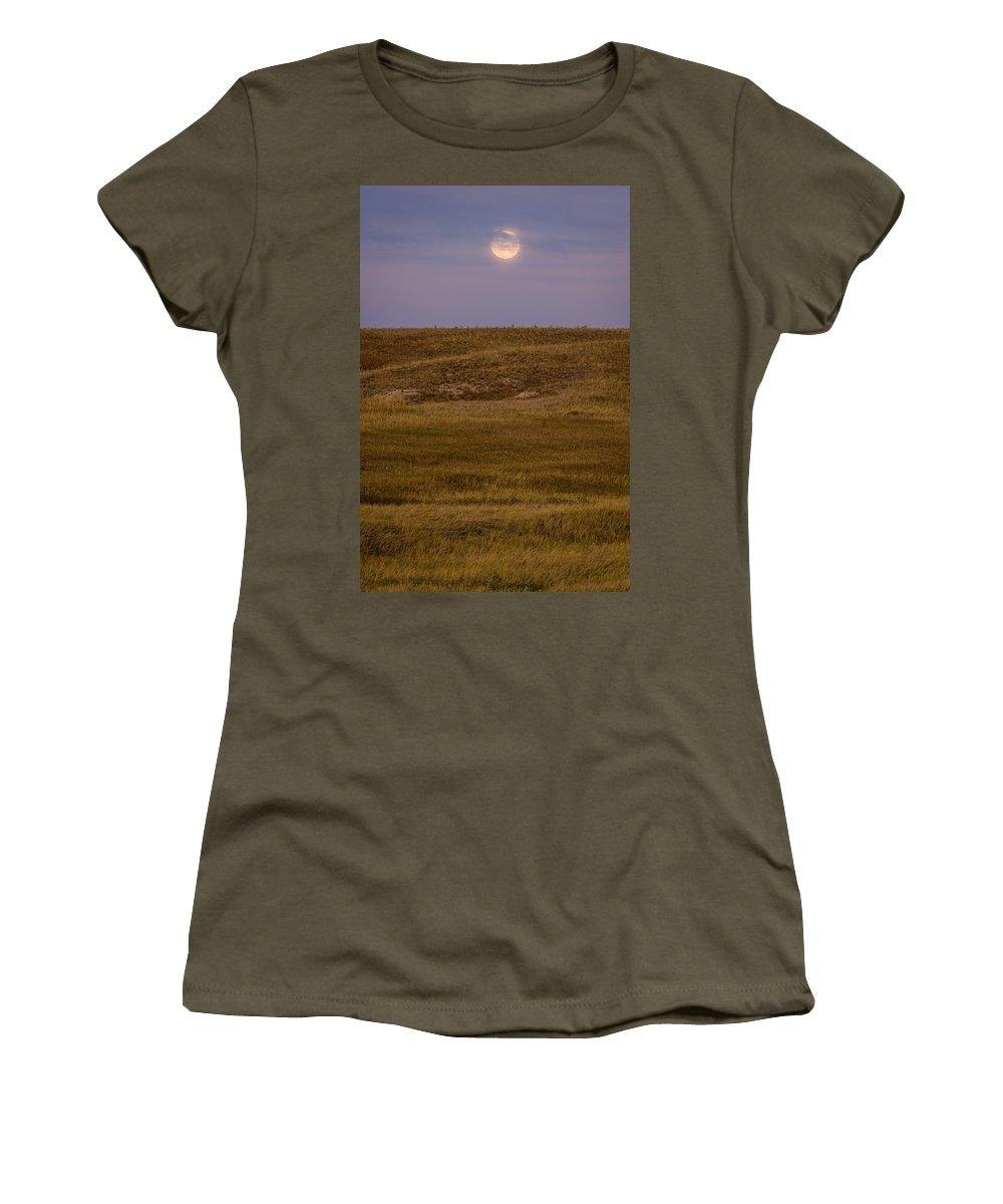 Badlands Women's T-Shirt featuring the photograph Moonrise Over Badlands South Dakota by Steve Gadomski