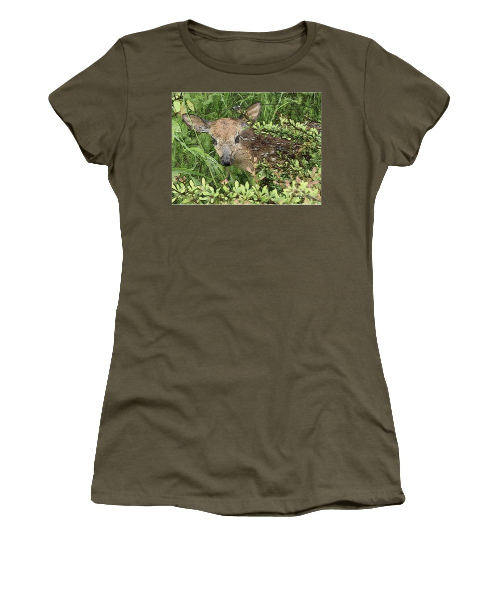 Fawn Women's T-Shirt featuring the photograph New Babe by Ericamaxine Price
