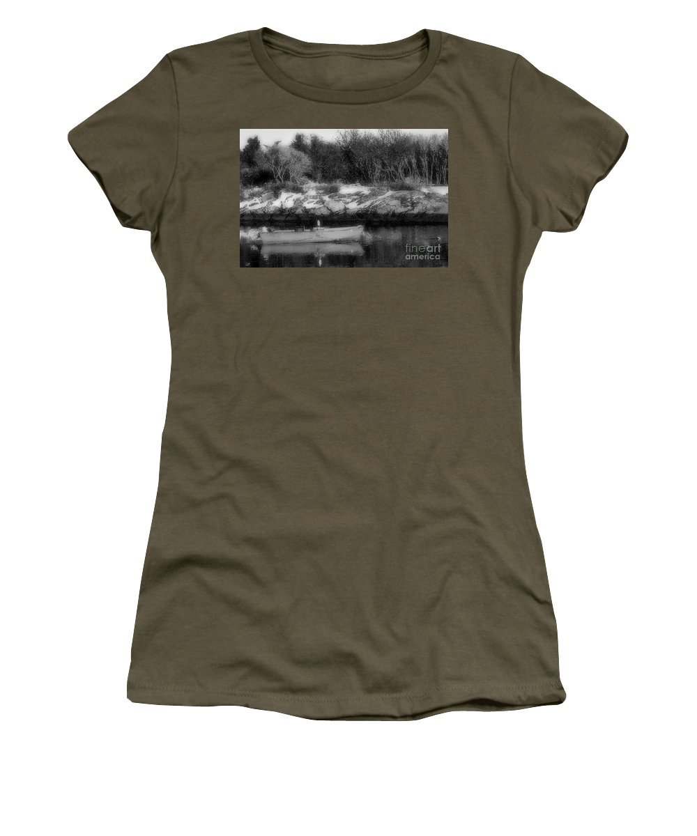 Boat Women's T-Shirt featuring the photograph New England Skiff Bw by Mike Nellums