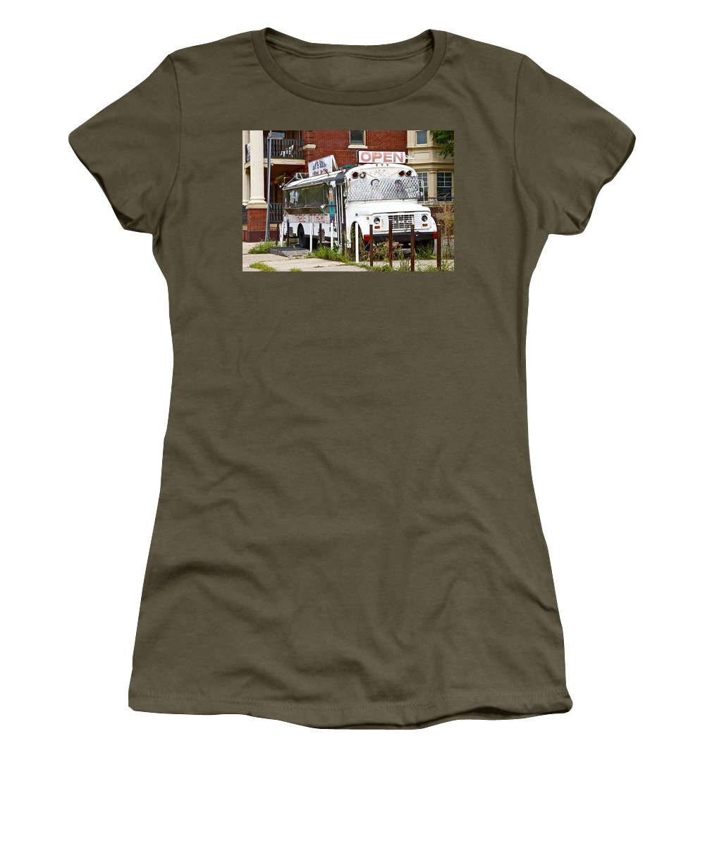 Scenic Philadelphia Trash Bus White Decrepit Women's T-Shirt featuring the photograph Open by Alice Gipson