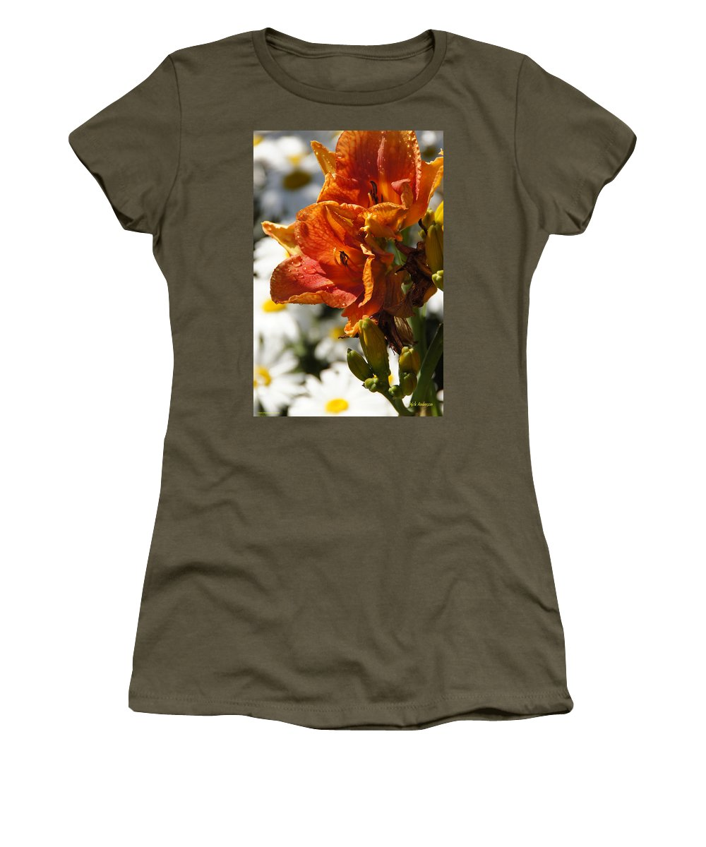 Orange Women's T-Shirt featuring the photograph Orange Day Lilies In The Sun by Mick Anderson
