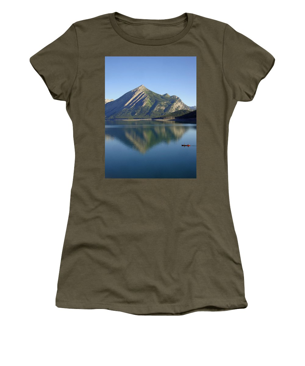 Paddle Women's T-Shirt (Athletic Fit) featuring the photograph Sunrise Paddle In Peace - Kananaskis, Alberta by Ian Mcadie