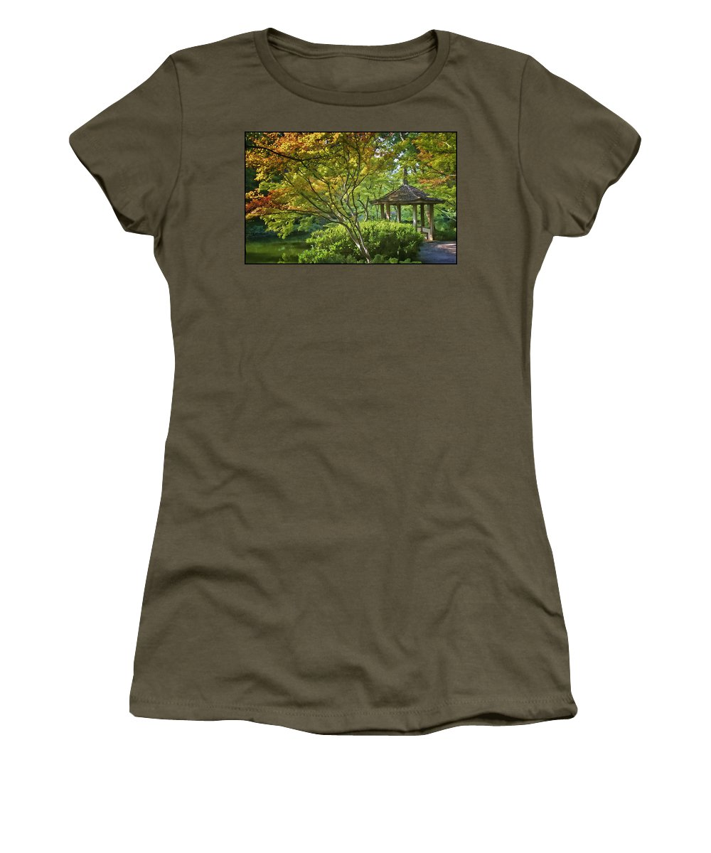 Architecture Women's T-Shirt featuring the photograph Painted Gardens by Joan Carroll