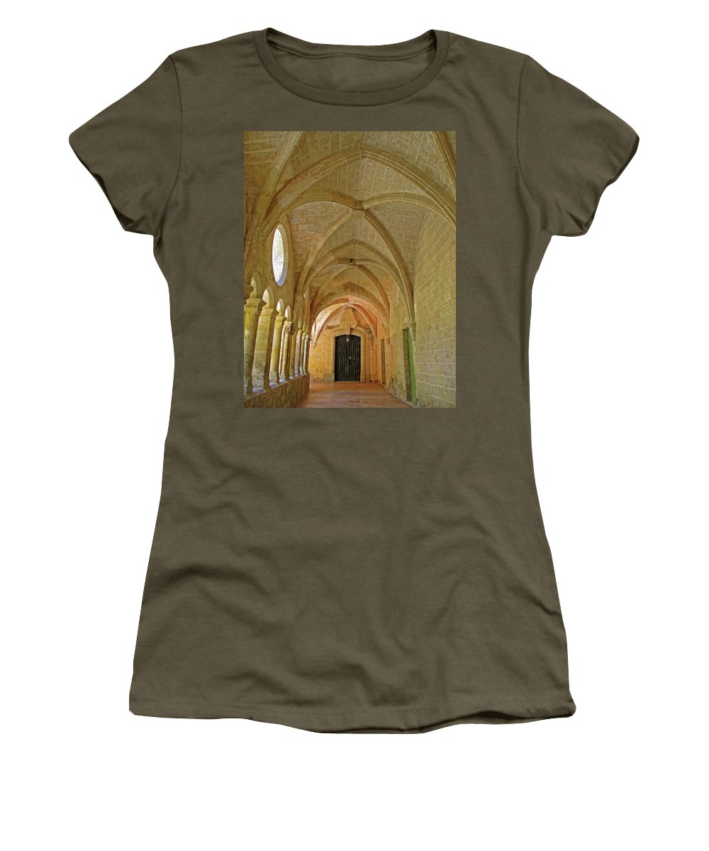 Monastery Women's T-Shirt featuring the photograph Passageway In A Monastery by Dave Mills