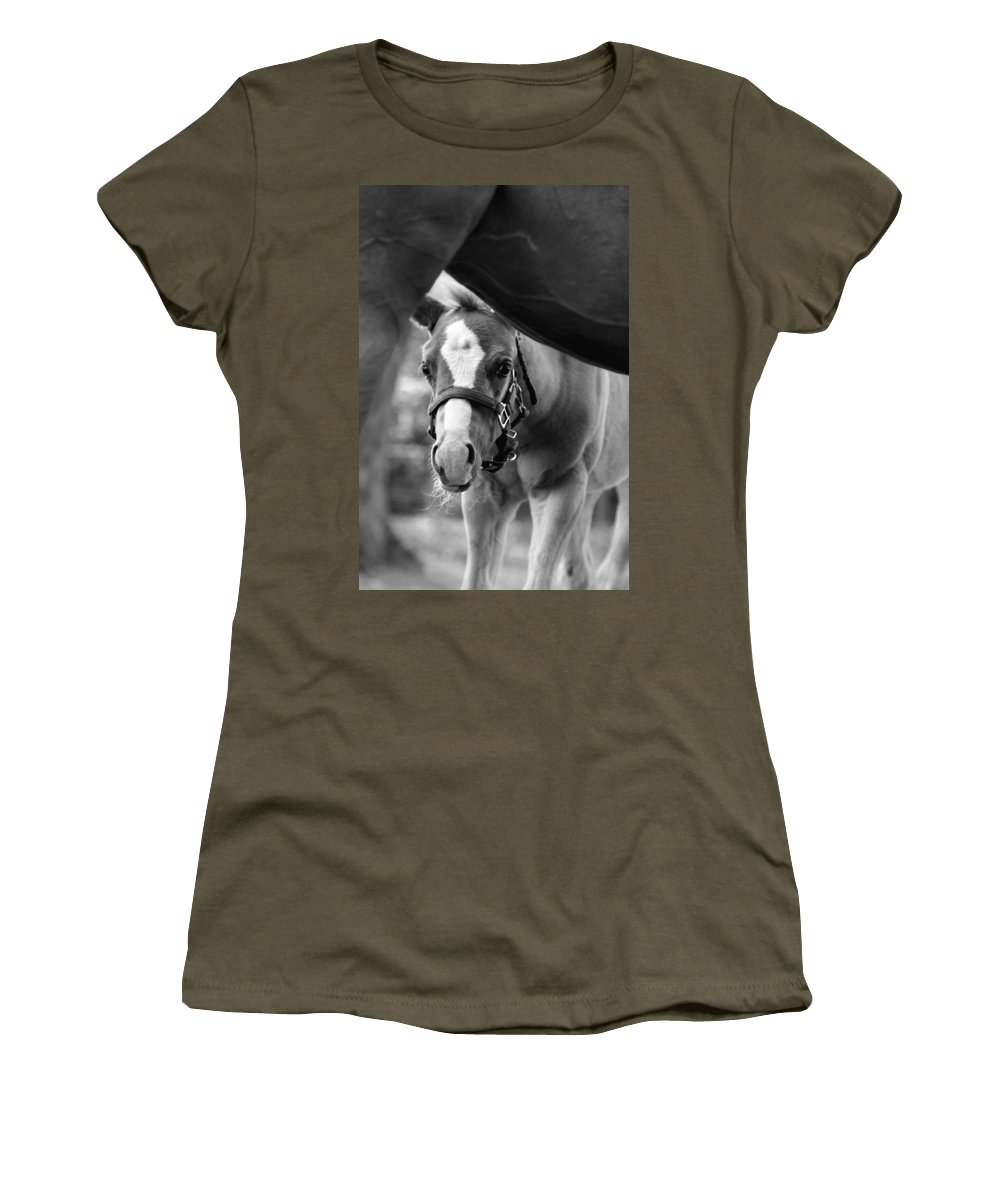 Horse Women's T-Shirt featuring the photograph Peek'a Boo - Black And White by Angela Rath