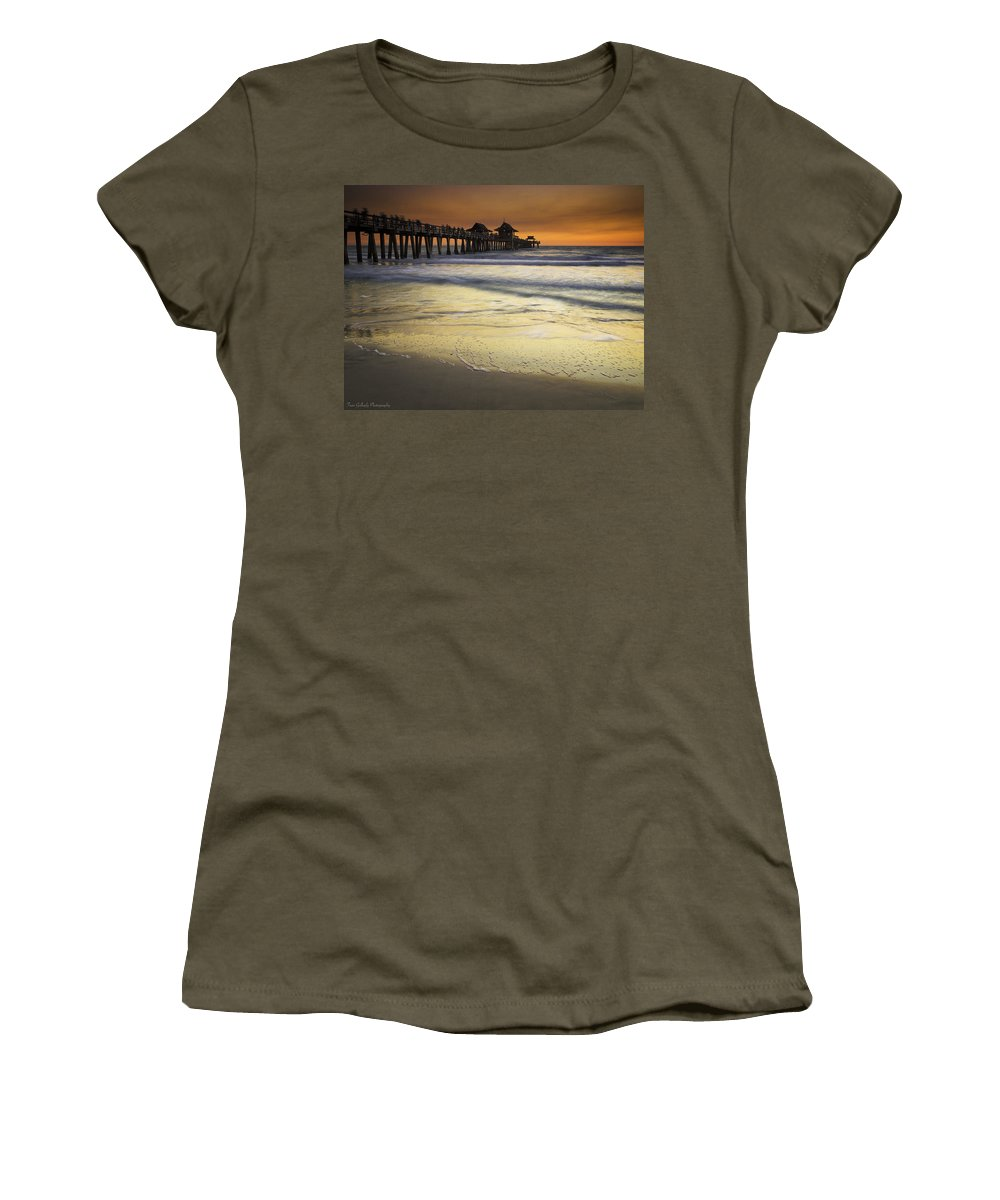 Pier Women's T-Shirt featuring the photograph Pier At Sunset by Fran Gallogly