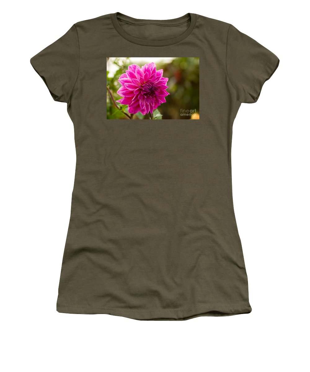 Flower Women's T-Shirt (Athletic Fit) featuring the photograph Pink Dahlia by Syed Aqueel