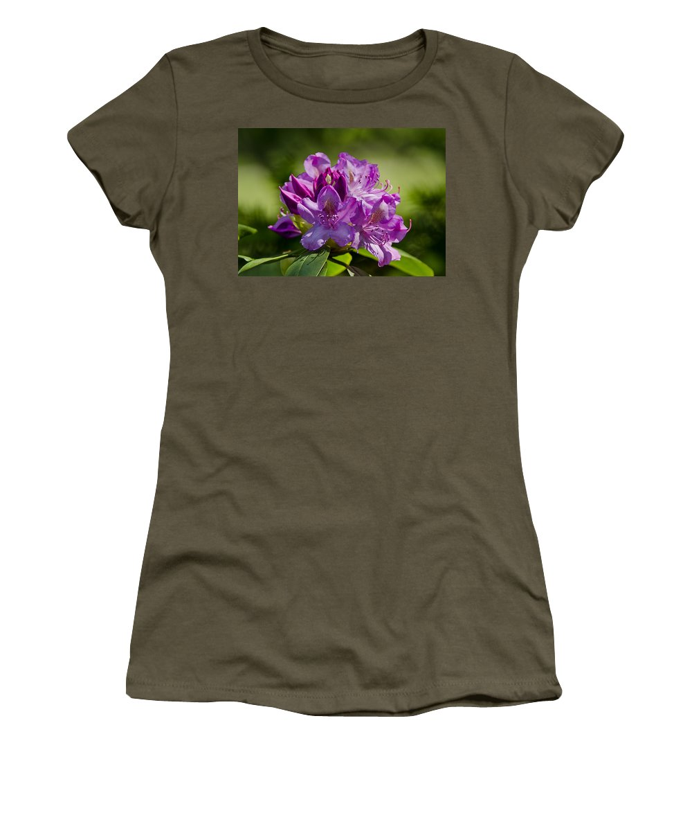 Usa Women's T-Shirt (Athletic Fit) featuring the photograph Pink Petals On The Trail by LeeAnn McLaneGoetz McLaneGoetzStudioLLCcom