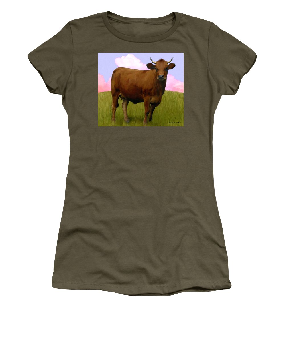 Cow Women's T-Shirt (Athletic Fit) featuring the painting Portrait Of A Cow by Snake Jagger