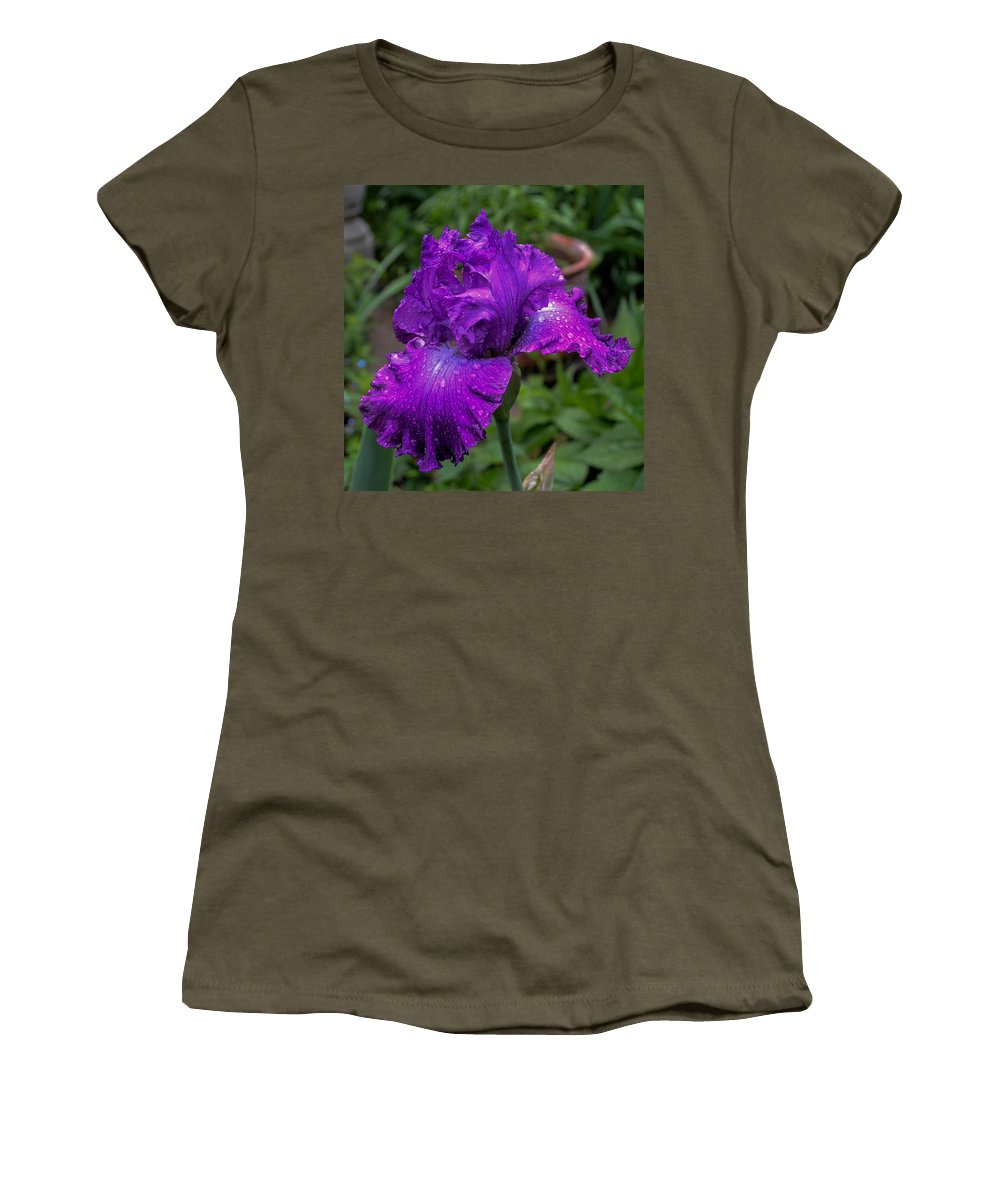 Flowers Women's T-Shirt (Athletic Fit) featuring the photograph Purple Iris by Wanda J King