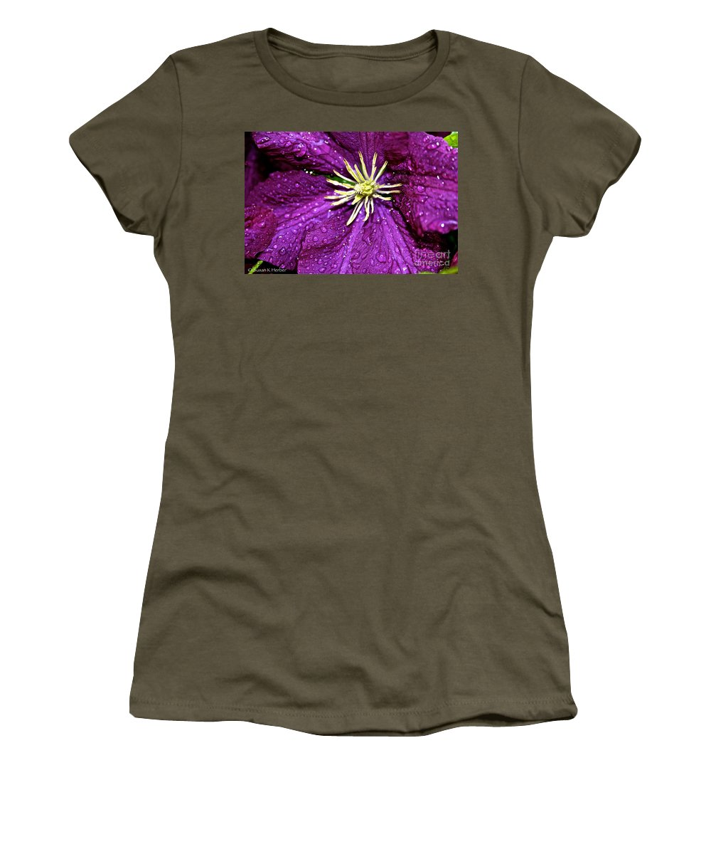 Outdoors Women's T-Shirt (Athletic Fit) featuring the photograph Purple Rain by Susan Herber