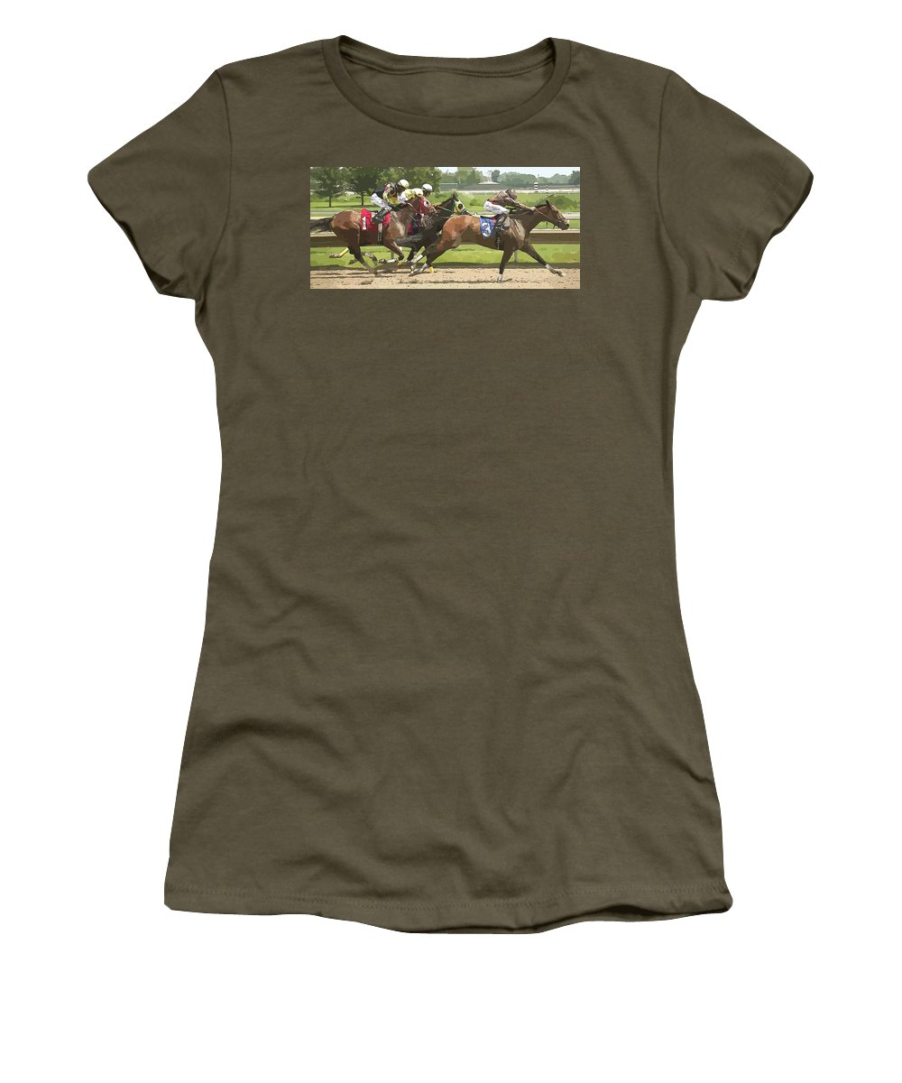 Jockeys Racers Racetrack Horses Thorobreds Women's T-Shirt (Athletic Fit) featuring the photograph Racetrack Views by Alice Gipson