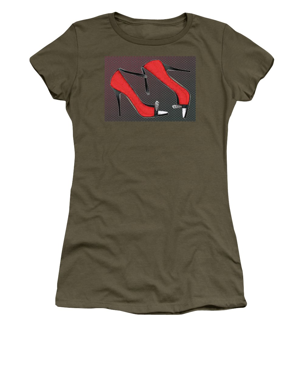 Shoes Heels Pumps Fashion Designer Feet Foot Shoe Stilettos Painting Paintings Illustration Illustrations Sketch Sketches Drawing Drawings Pump Stiletto Fetish Designer Fashion Boot Boots Footwear Sandal Sandals High+heels High+heel Women's+shoes Graphic Sophisticated Elegant Modern Women's T-Shirt (Athletic Fit) featuring the painting Raging Red Open Toed Stilettos by Elaine Plesser