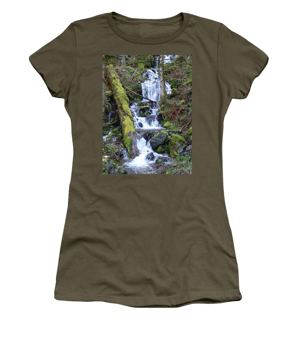 Waterfall Women's T-Shirt (Athletic Fit) featuring the photograph Rainforest Waterfall by Ian Mcadie