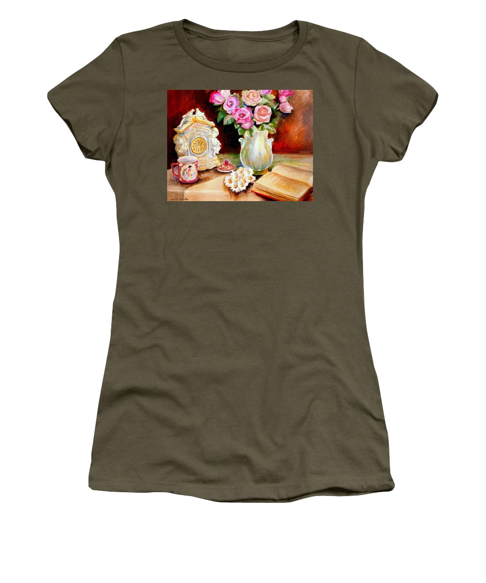 Beautiful Roses In A Dining Room Setting Women's T-Shirt featuring the painting Red And Pink Roses And Daisies - The Doves Of Peace-angels And The Bible by Carole Spandau
