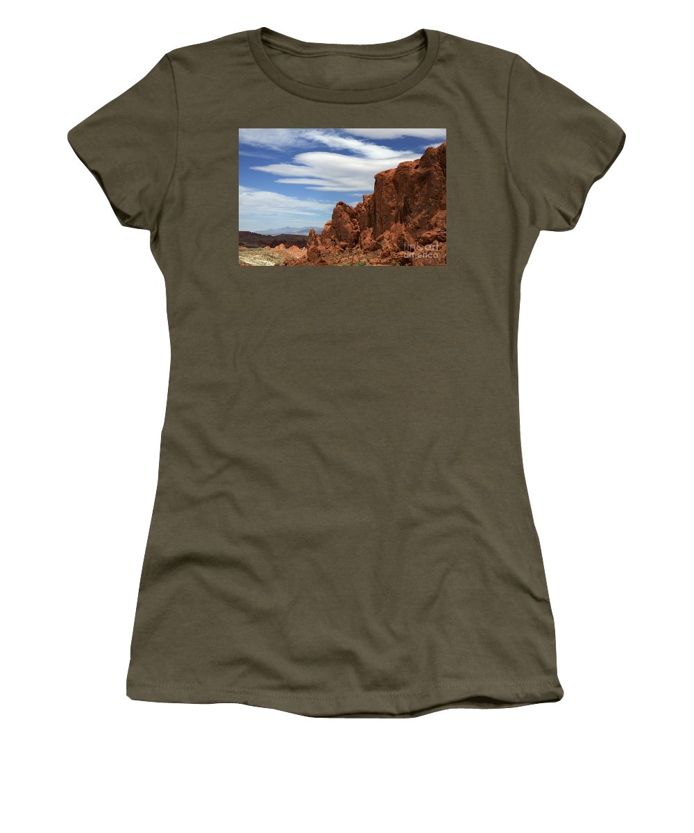 Valley Of Fire Women's T-Shirt featuring the photograph Red Rock Cliffs Valley Of Fire Nevada by Bob Christopher