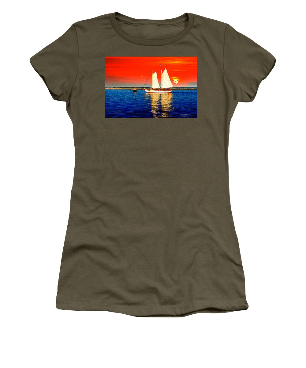 Cape Cod. Out On The Cape Women's T-Shirt featuring the photograph Red White Blue Cape Cod Will Do by Randall Branham