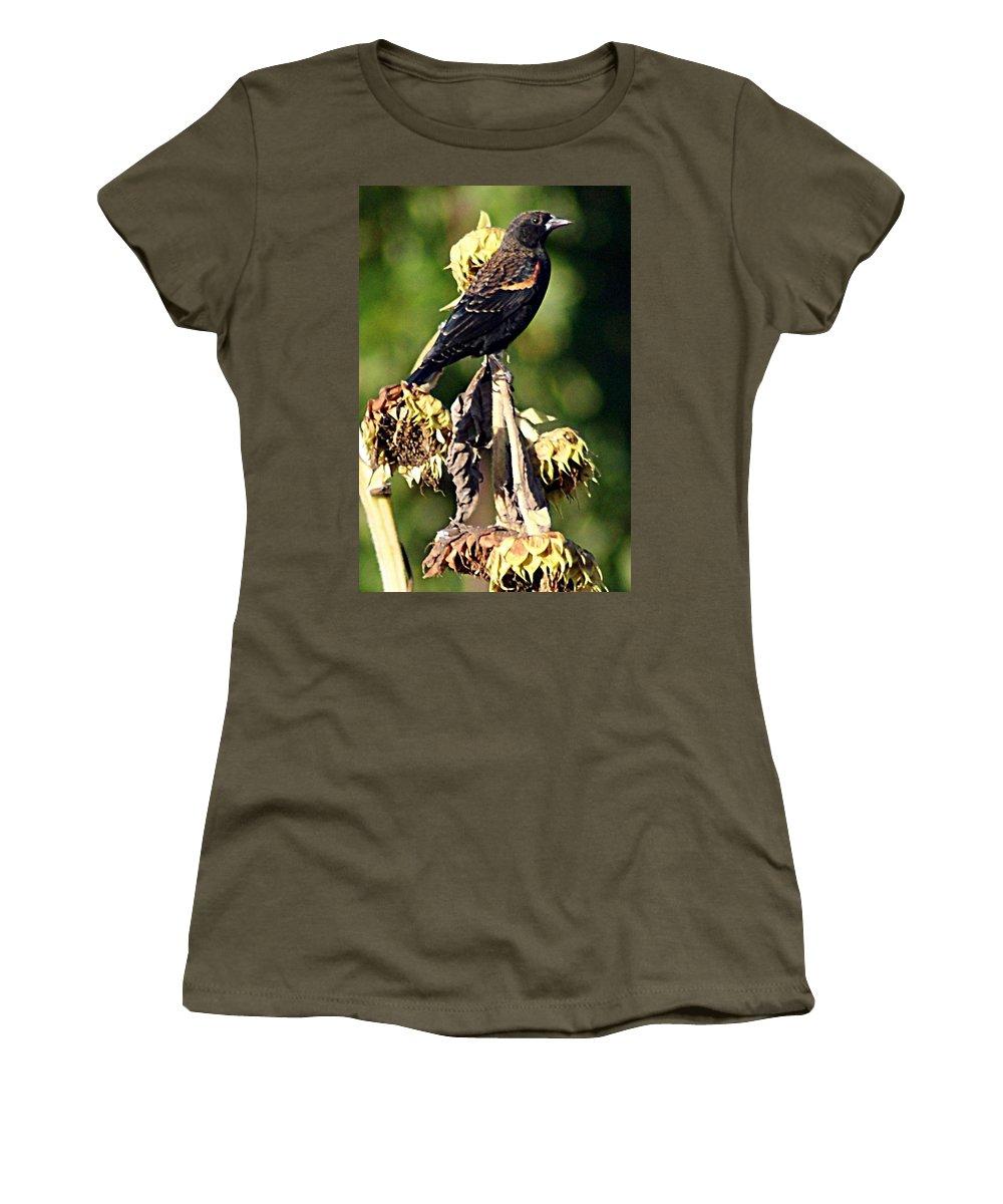 Redwinged Women's T-Shirt featuring the photograph Redwinged Blackbird II by Joe Faherty