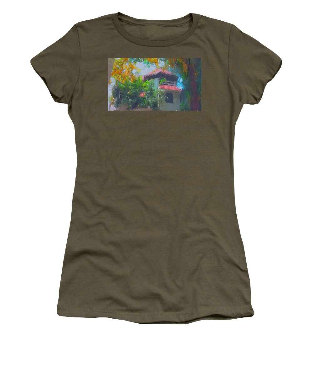 Roof Top Women's T-Shirt featuring the painting Roof Top by Usha Shantharam