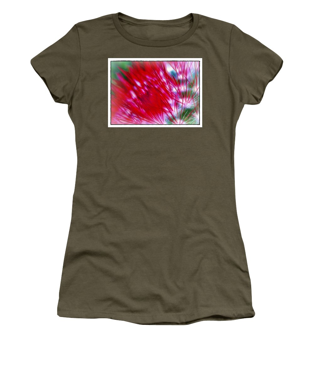 Scarlet Women's T-Shirt featuring the photograph Scarlet Sabers by Judi Bagwell