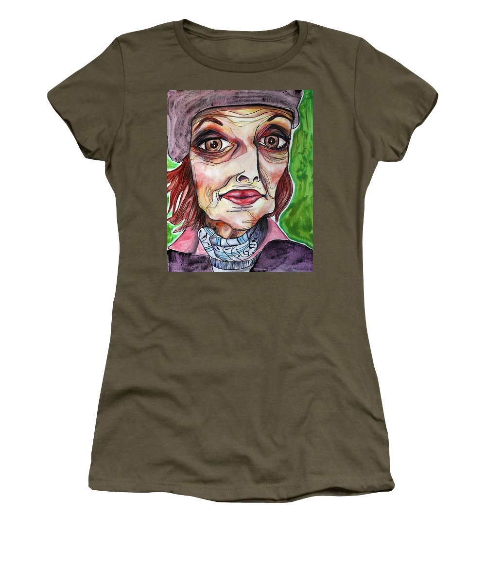 Portrait Women's T-Shirt featuring the painting She Once Was by Darcy Lee Saxton