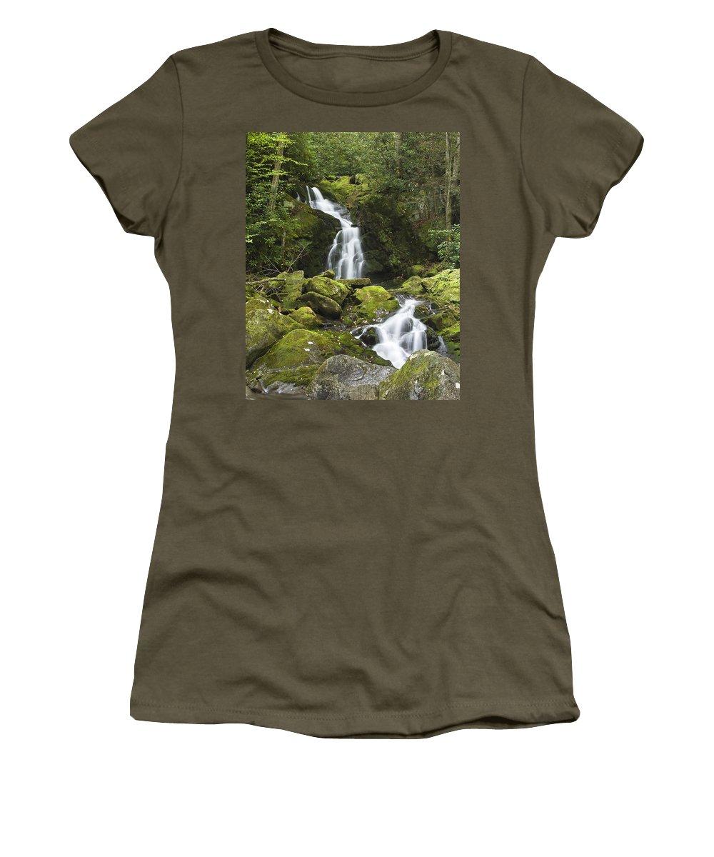 Mouse Creek Falls Women's T-Shirt featuring the photograph Smoky Mountain Waterfall - Mouse Creek Falls by Bill Swindaman