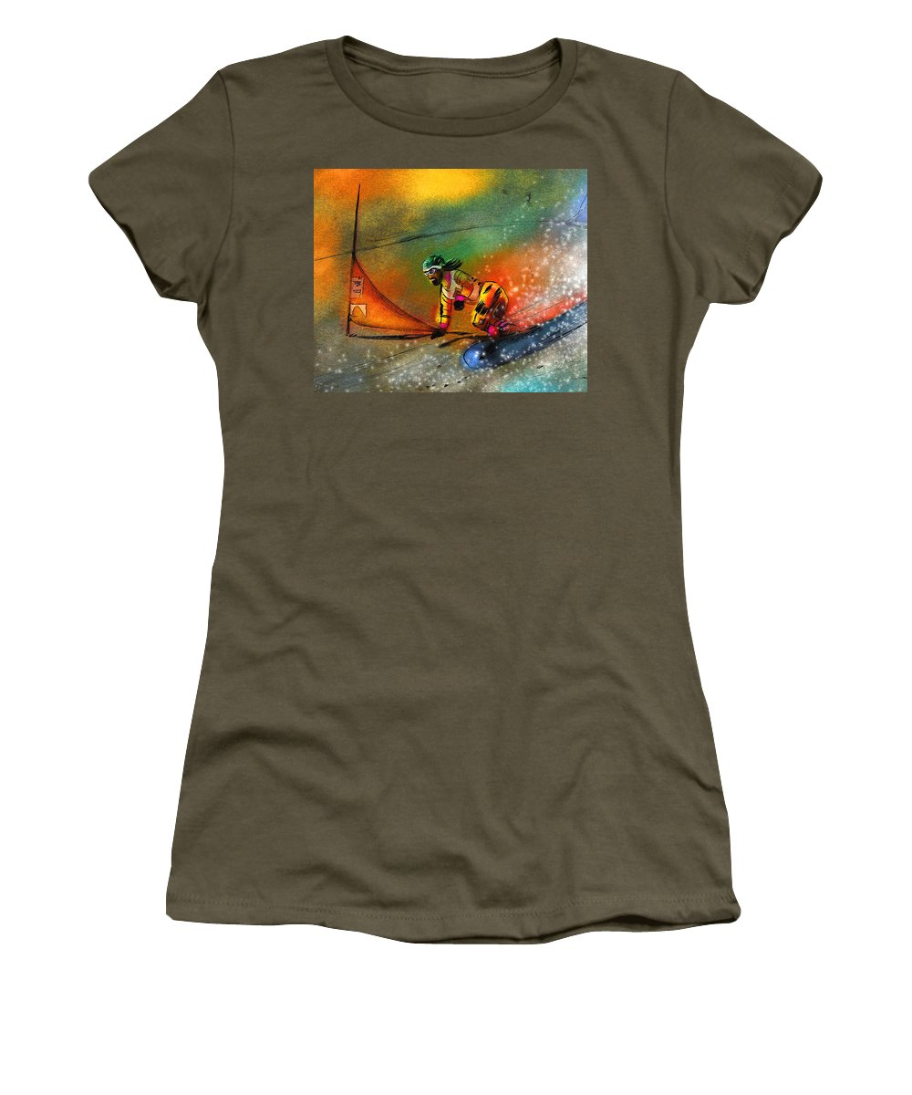 Sports Women's T-Shirt featuring the painting Snowboarding 03 by Miki De Goodaboom