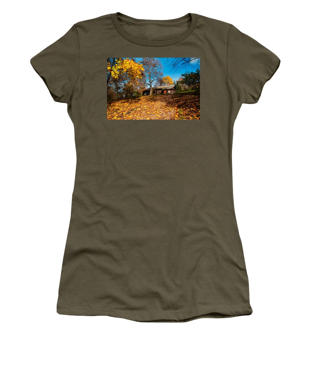 Autumn Women's T-Shirt featuring the photograph Splendor Of Autumn. Wooden House by Jenny Rainbow