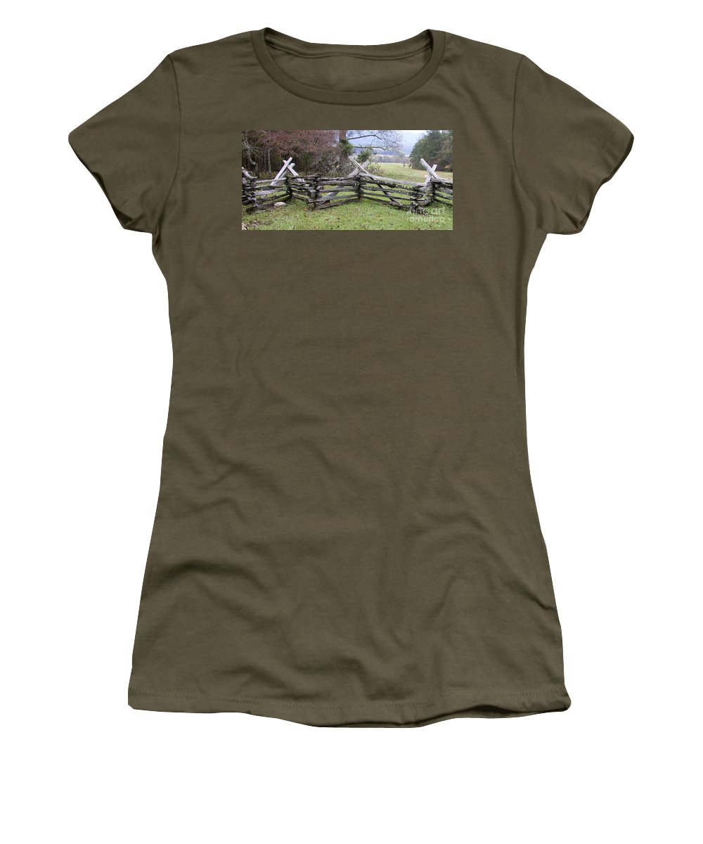 Split Rail Fence Women's T-Shirt featuring the photograph Split Rail Fence by Tim Mulina
