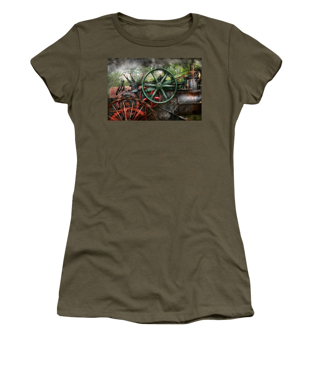Steampunk Women's T-Shirt featuring the photograph Steampunk - Machine - Transportation Of The Future by Mike Savad