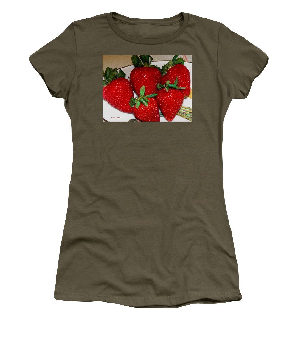 Strawberries Women's T-Shirt featuring the photograph Strawberries by Ericamaxine Price
