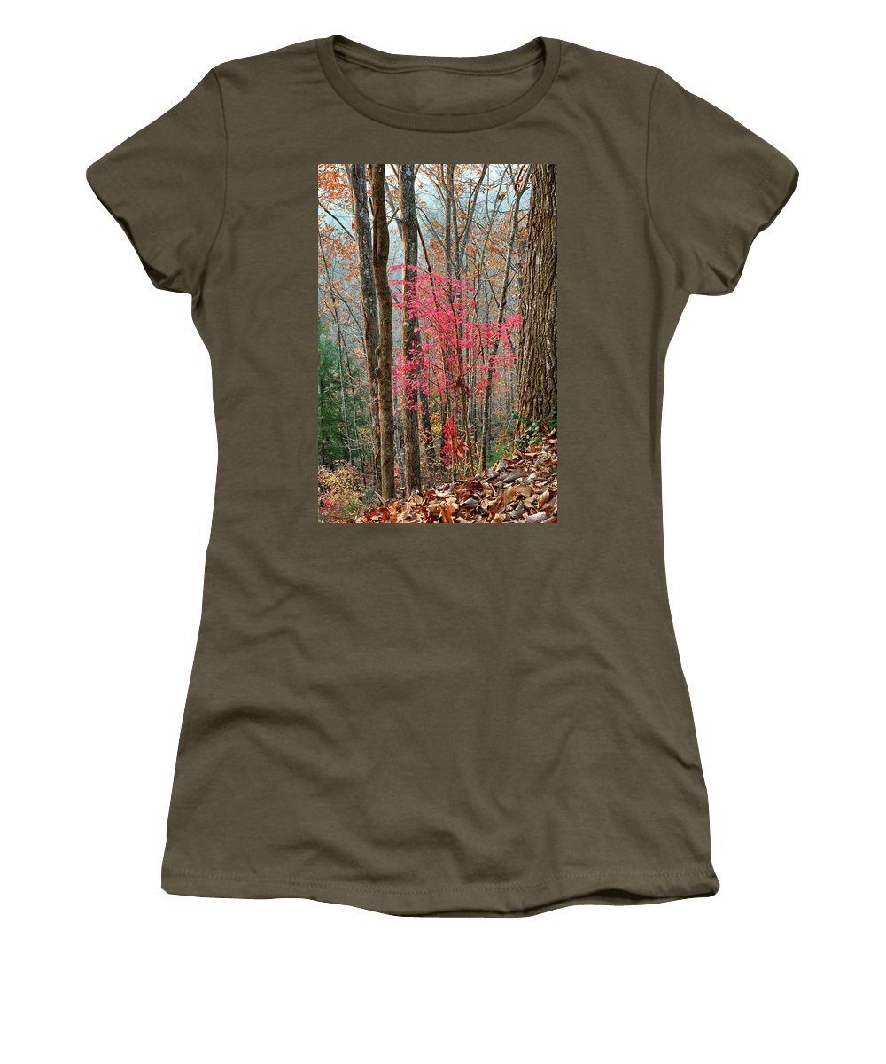 Trees Women's T-Shirt (Athletic Fit) featuring the photograph Sumac In Morning Light At Cumberland Falls State Park by Greg Matchick