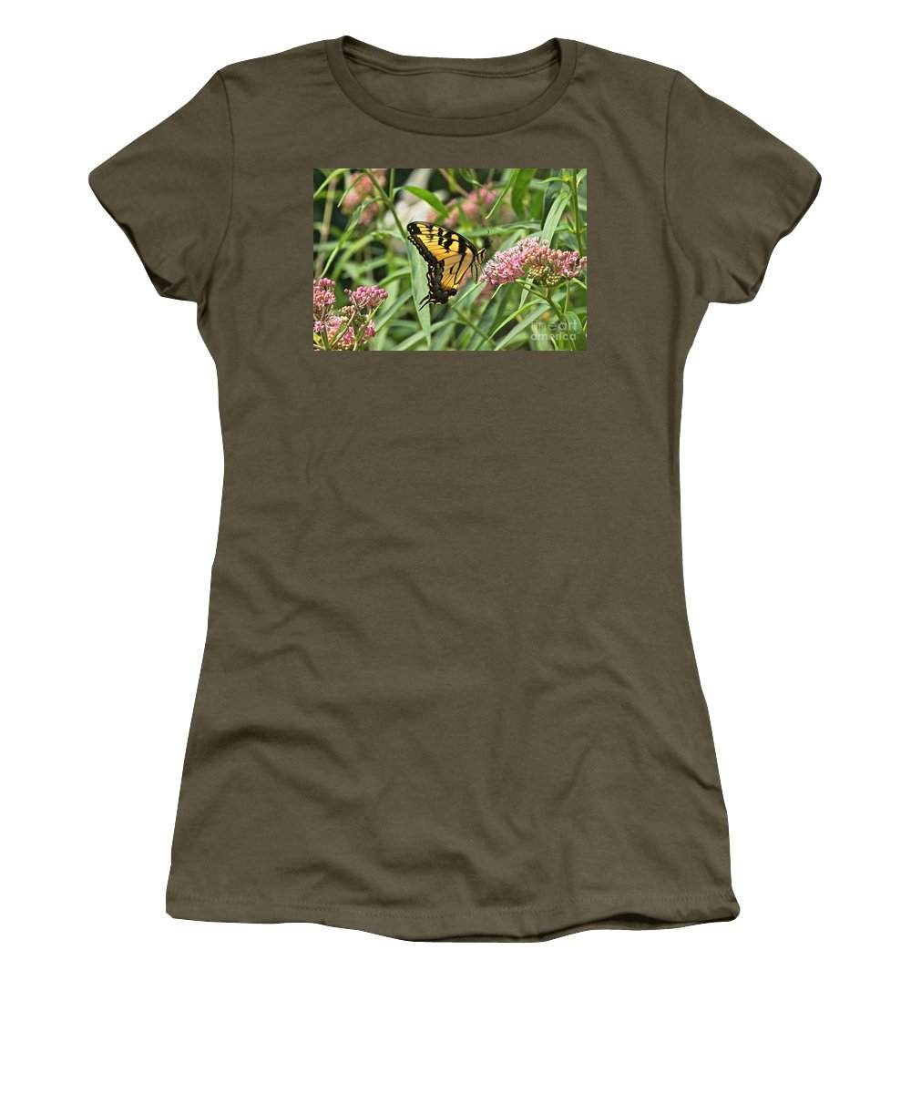 Eastern Tiger Swallowtail Women's T-Shirt featuring the photograph Summer's Flying Tiger by Byron Varvarigos
