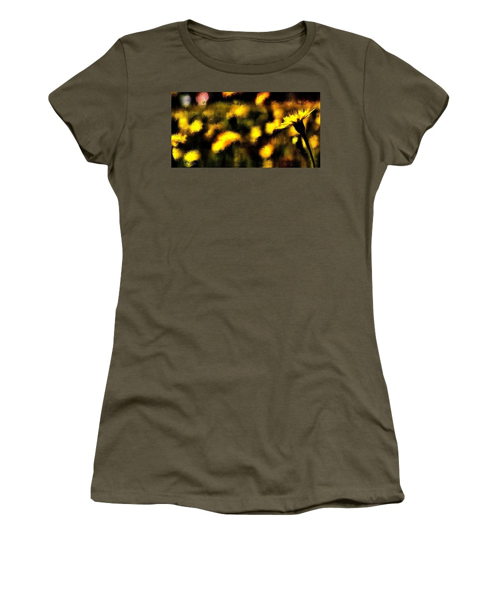 Women's T-Shirt featuring the mixed media Sun Worshiper by Terence Morrissey