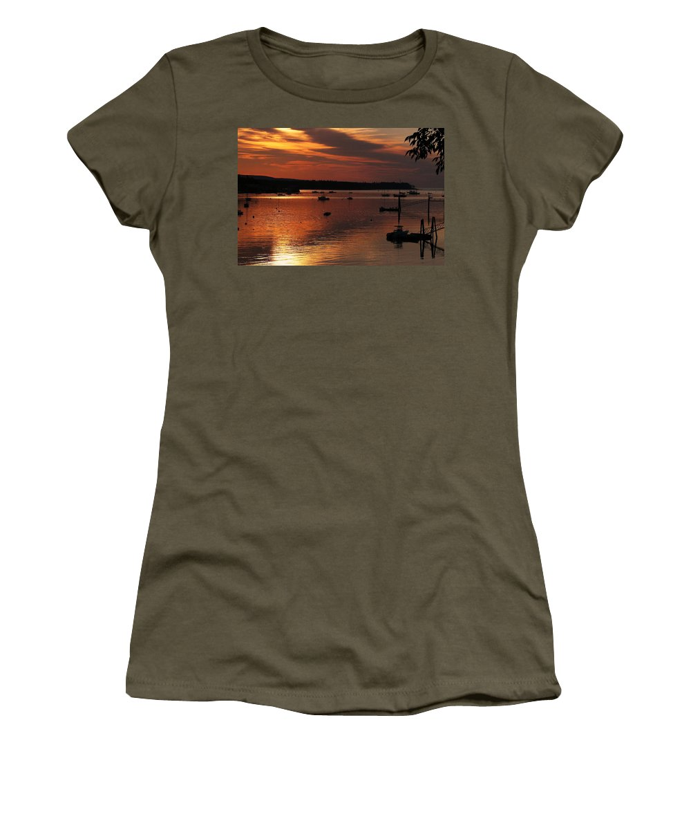 Sunrise Women's T-Shirt featuring the photograph Sunrise Over Southwest Harbor by Jeff Heimlich