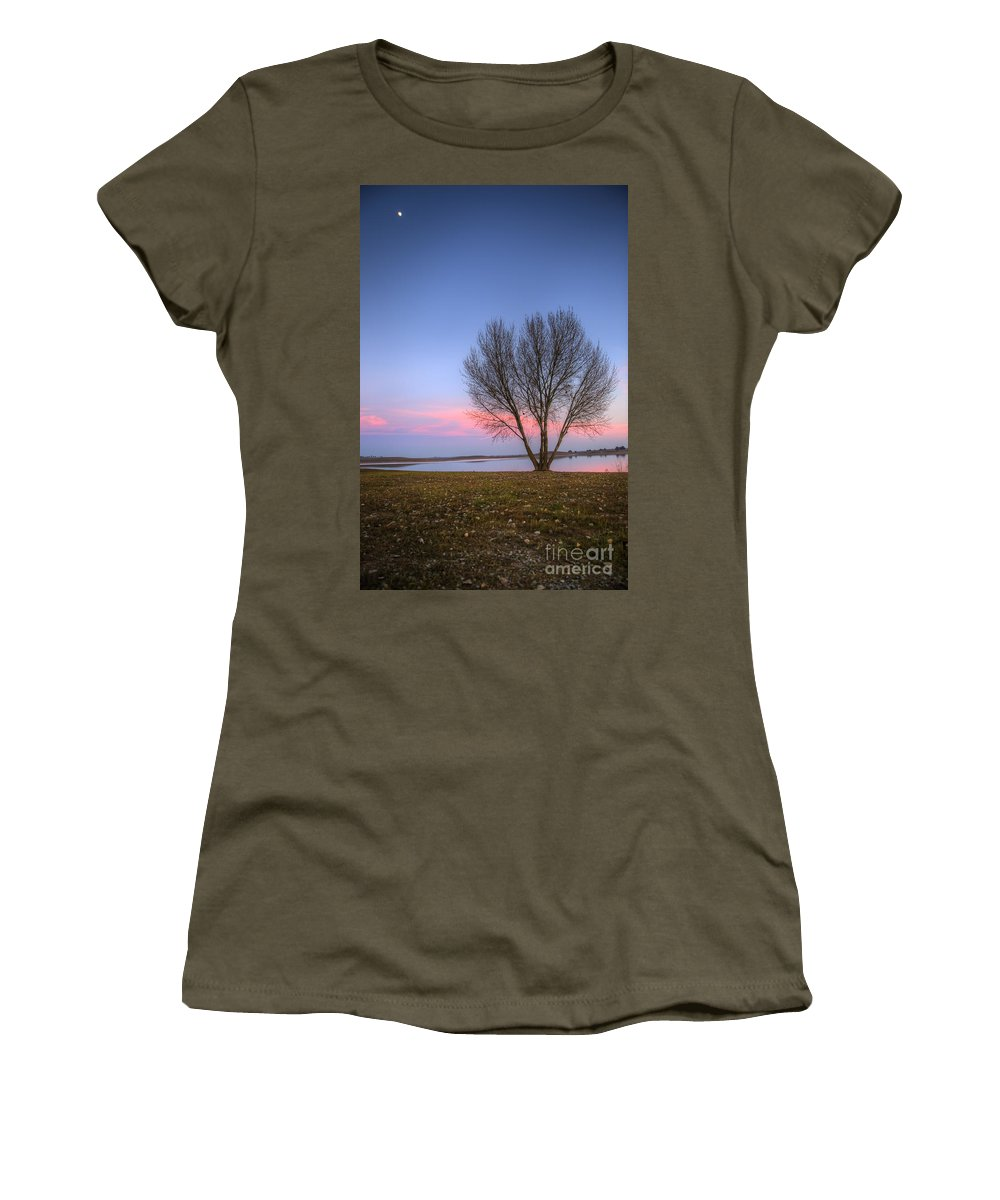 Sunset Women's T-Shirt featuring the photograph Sunset At The Lake by Jim And Emily Bush
