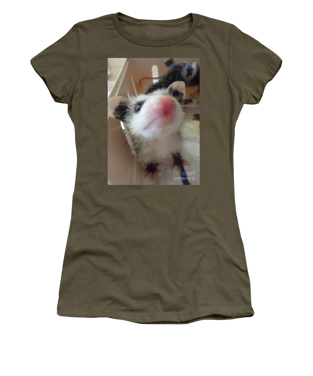 Opossum Women's T-Shirt (Athletic Fit) featuring the photograph Sweetness by Art Dingo