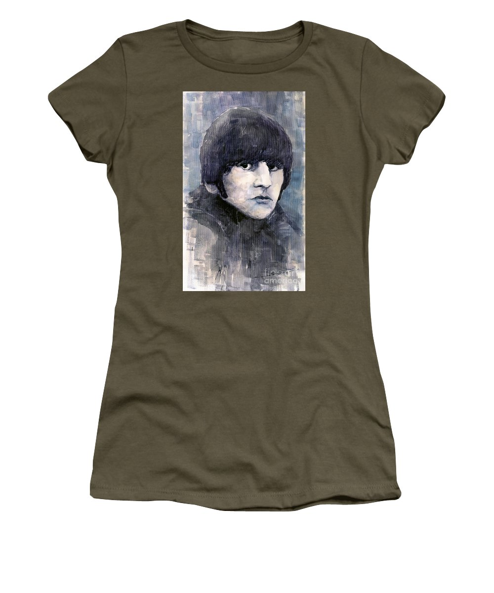 Watercolor Women's T-Shirt featuring the painting The Beatles Ringo Starr by Yuriy Shevchuk