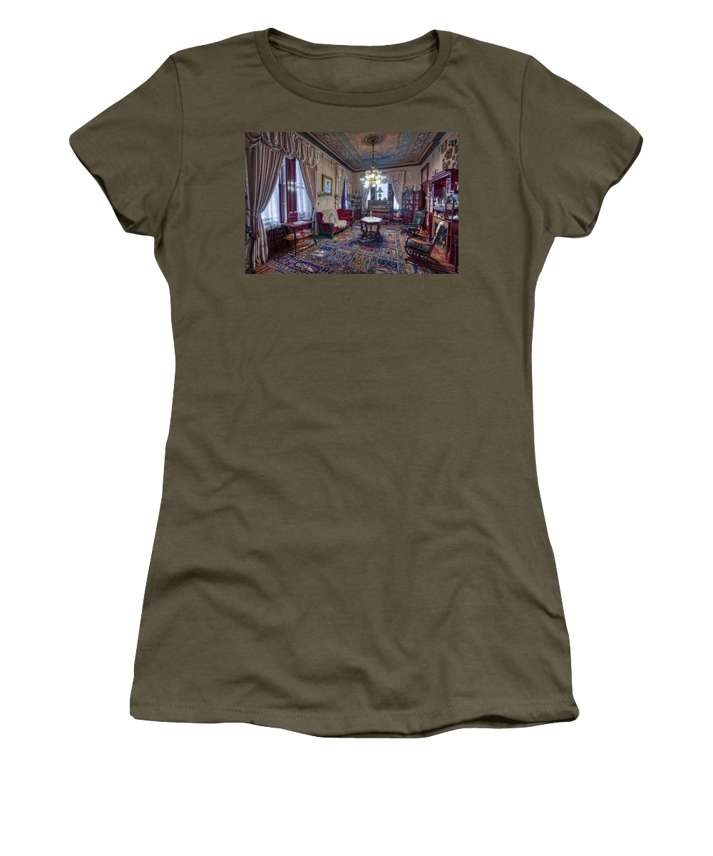 copper King Women's T-Shirt featuring the photograph The Copper King's Music Room - Butte Montana by Daniel Hagerman