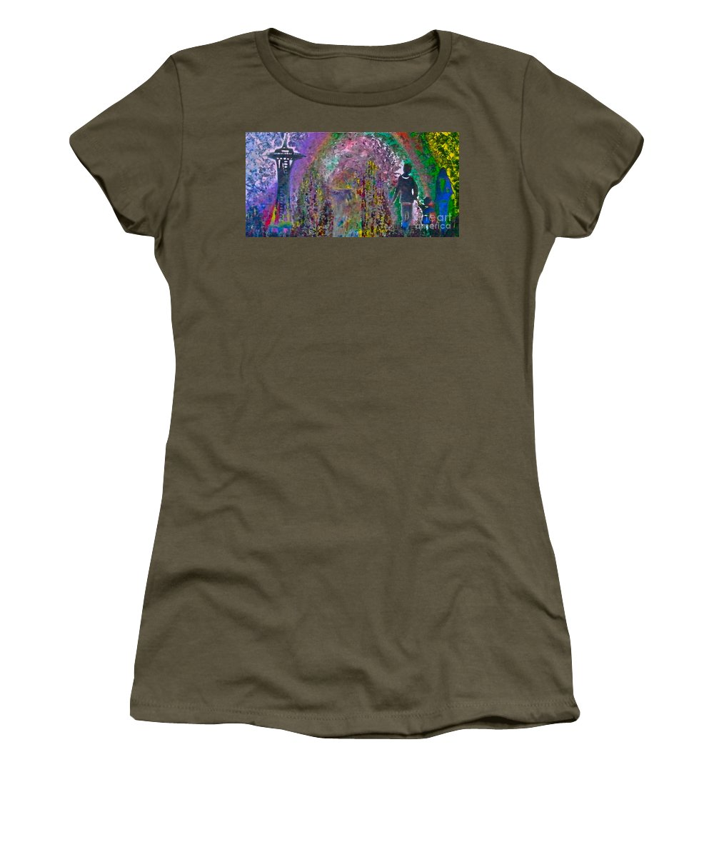 Seattle Women's T-Shirt featuring the painting The Emerald City by Tony B Conscious