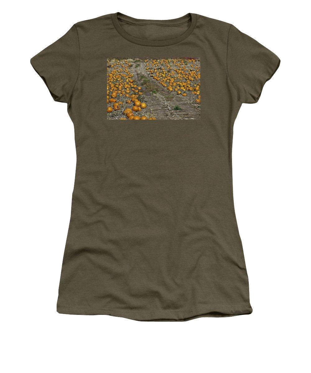 Fruit Of The Vine Women's T-Shirt featuring the photograph The Great Pumpkin Patch Trail by LeeAnn McLaneGoetz McLaneGoetzStudioLLCcom