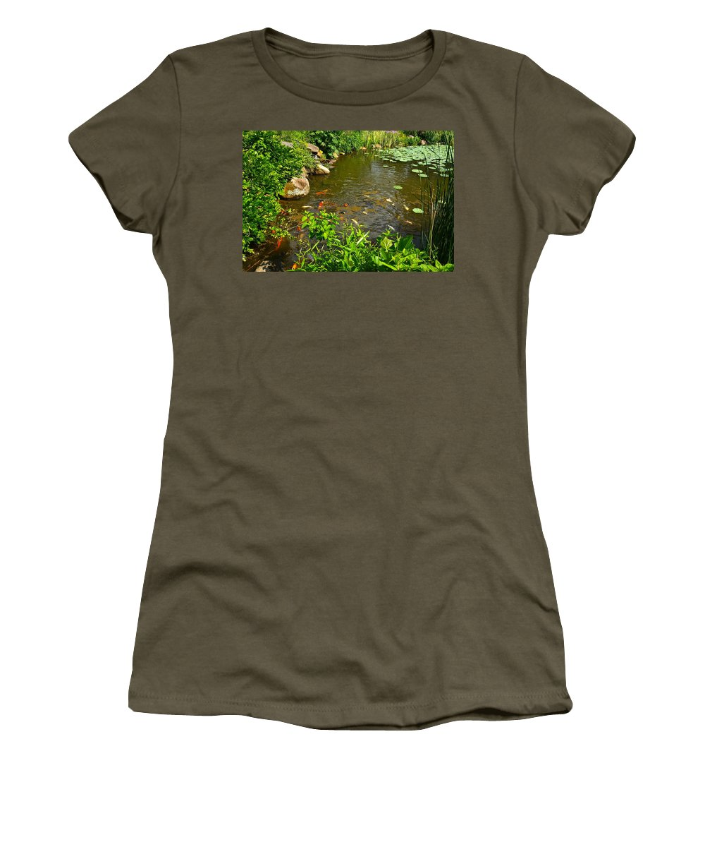 Koi Women's T-Shirt (Athletic Fit) featuring the photograph The Koi Are Feeding by Byron Varvarigos