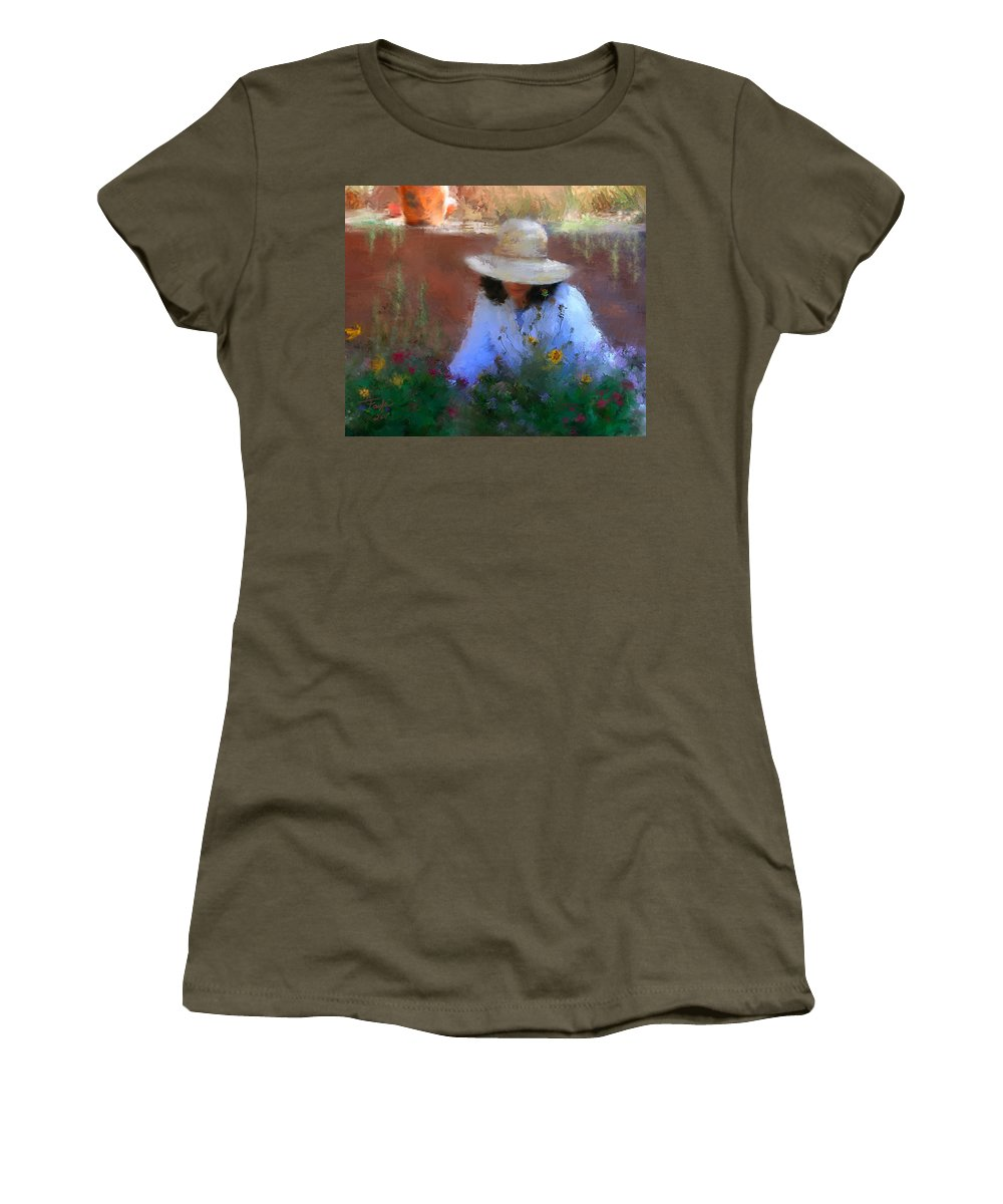 Flowers Women's T-Shirt featuring the painting The Light Of The Garden by Colleen Taylor