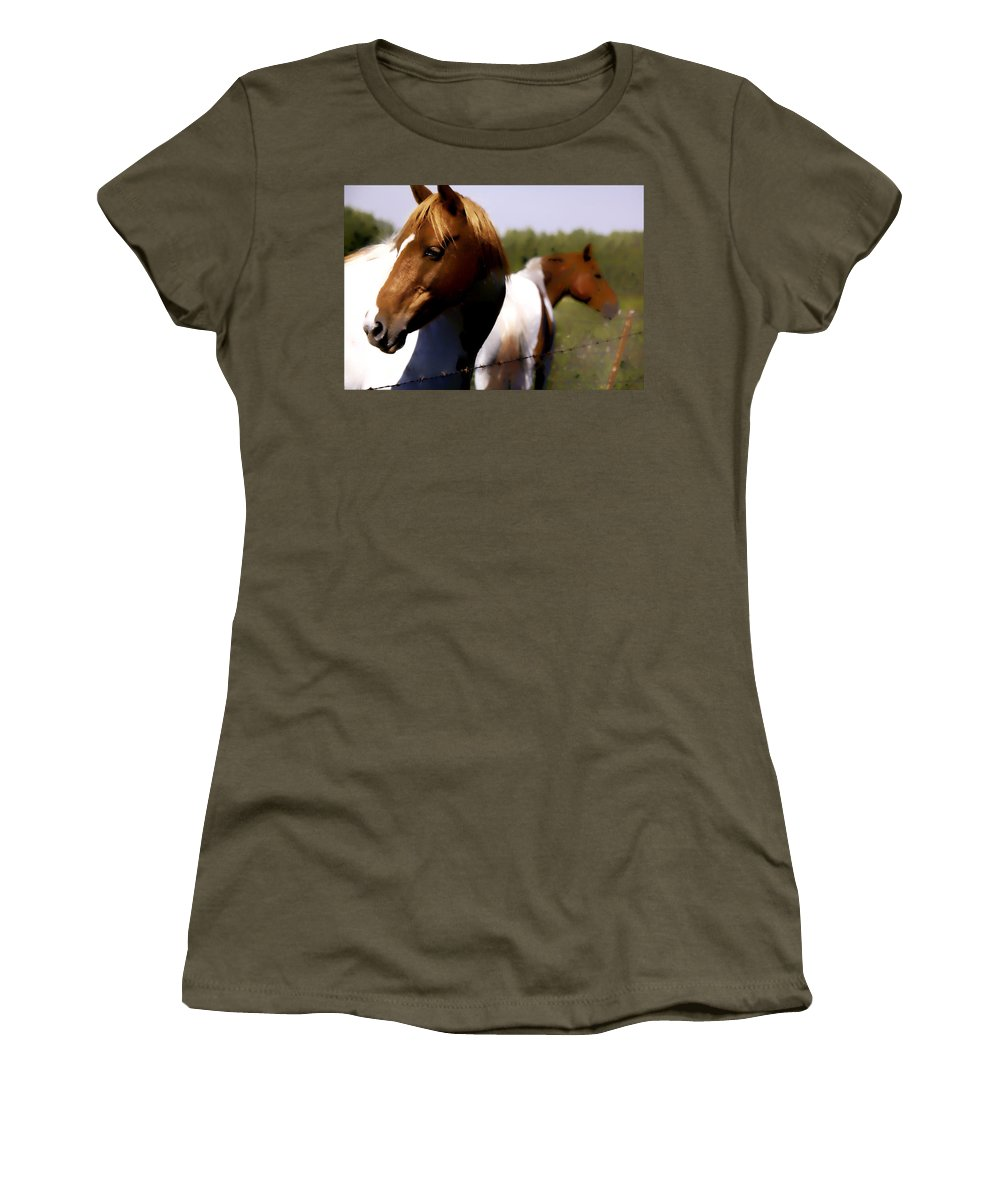 Horse Women's T-Shirt (Athletic Fit) featuring the digital art The Prairie Horses by Diane Dugas