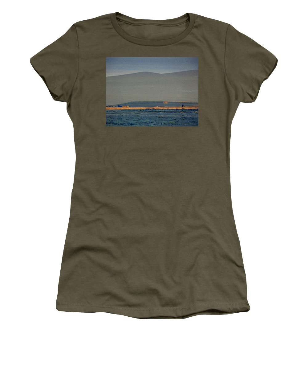 Abstract Women's T-Shirt featuring the photograph The Thin Orange Line by Lenore Senior