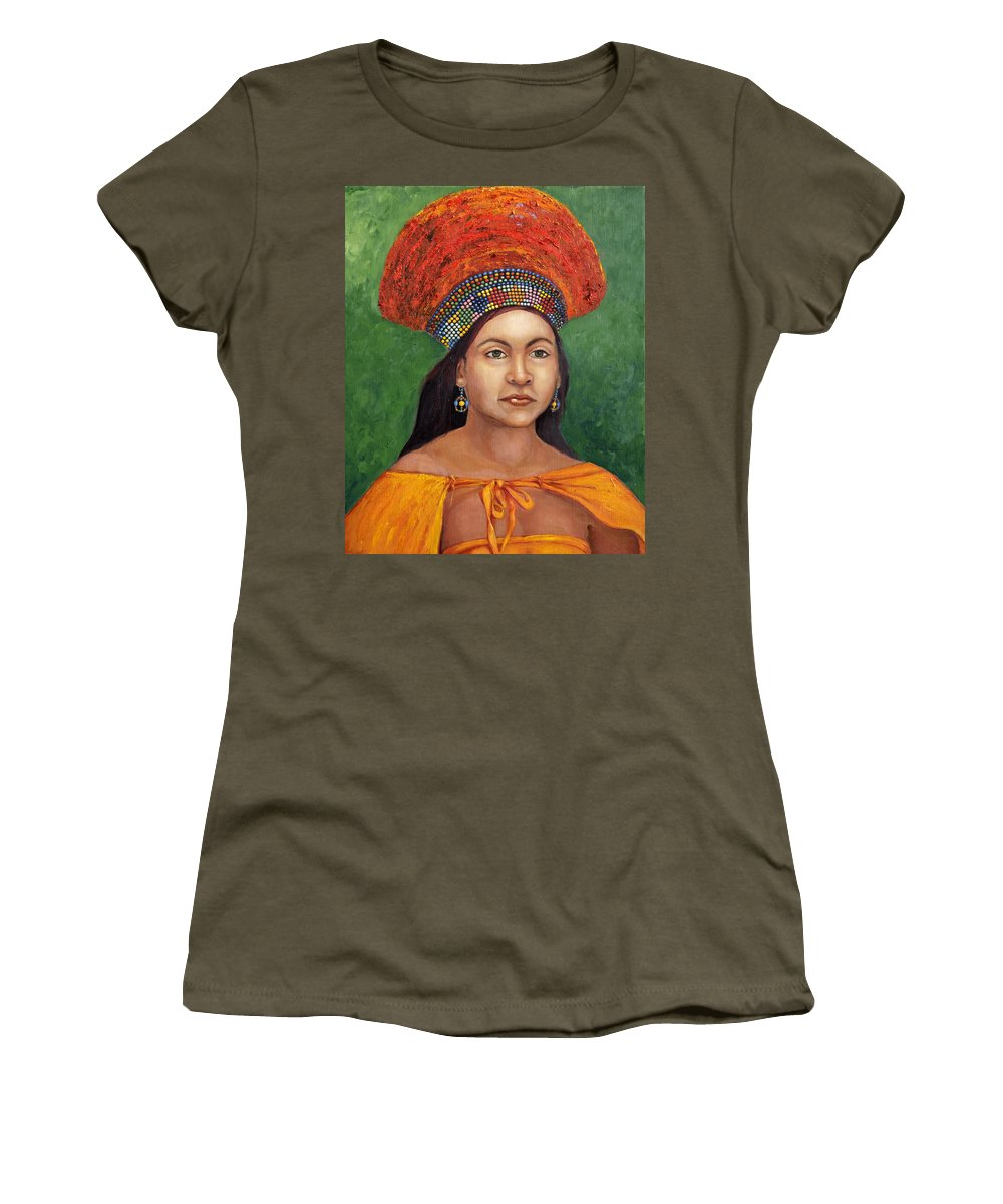 Painting Women's T-Shirt featuring the painting The Zulu Bride by Portraits By NC