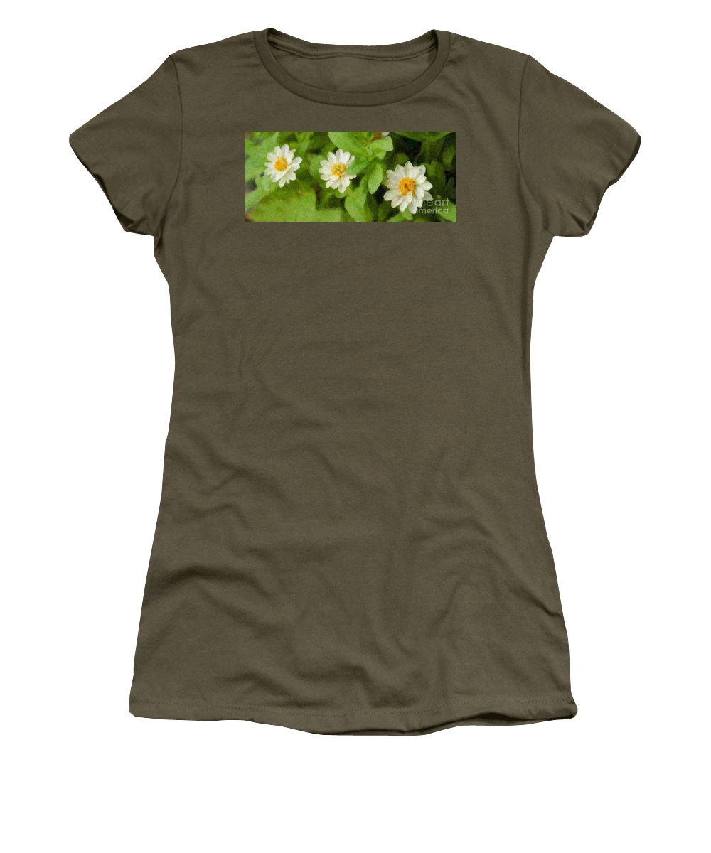 Flowers Women's T-Shirt featuring the photograph Three Flowers by Betty LaRue