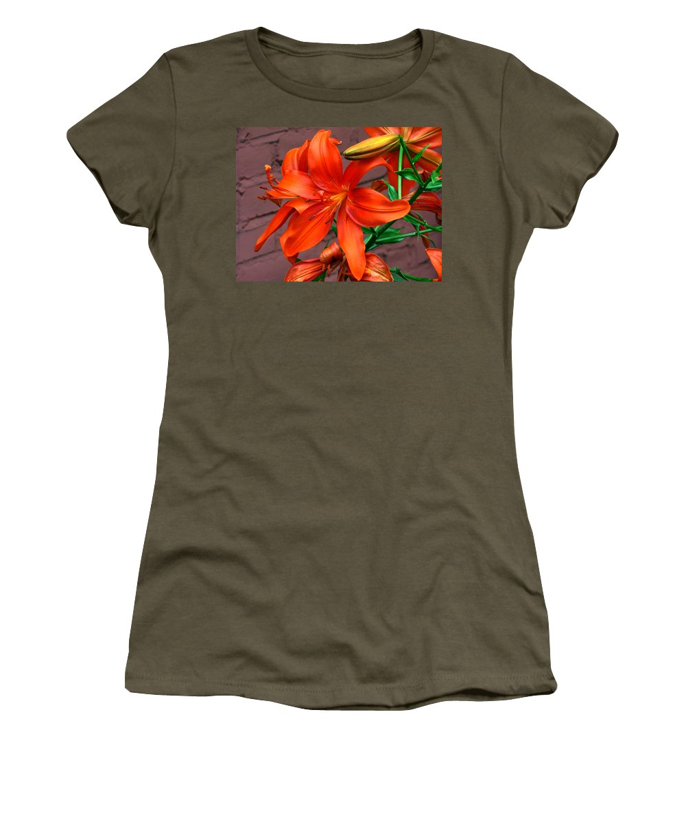 Tiger Lily Flower Women's T-Shirt featuring the photograph Tiger Lily by Denise Keegan Frawley