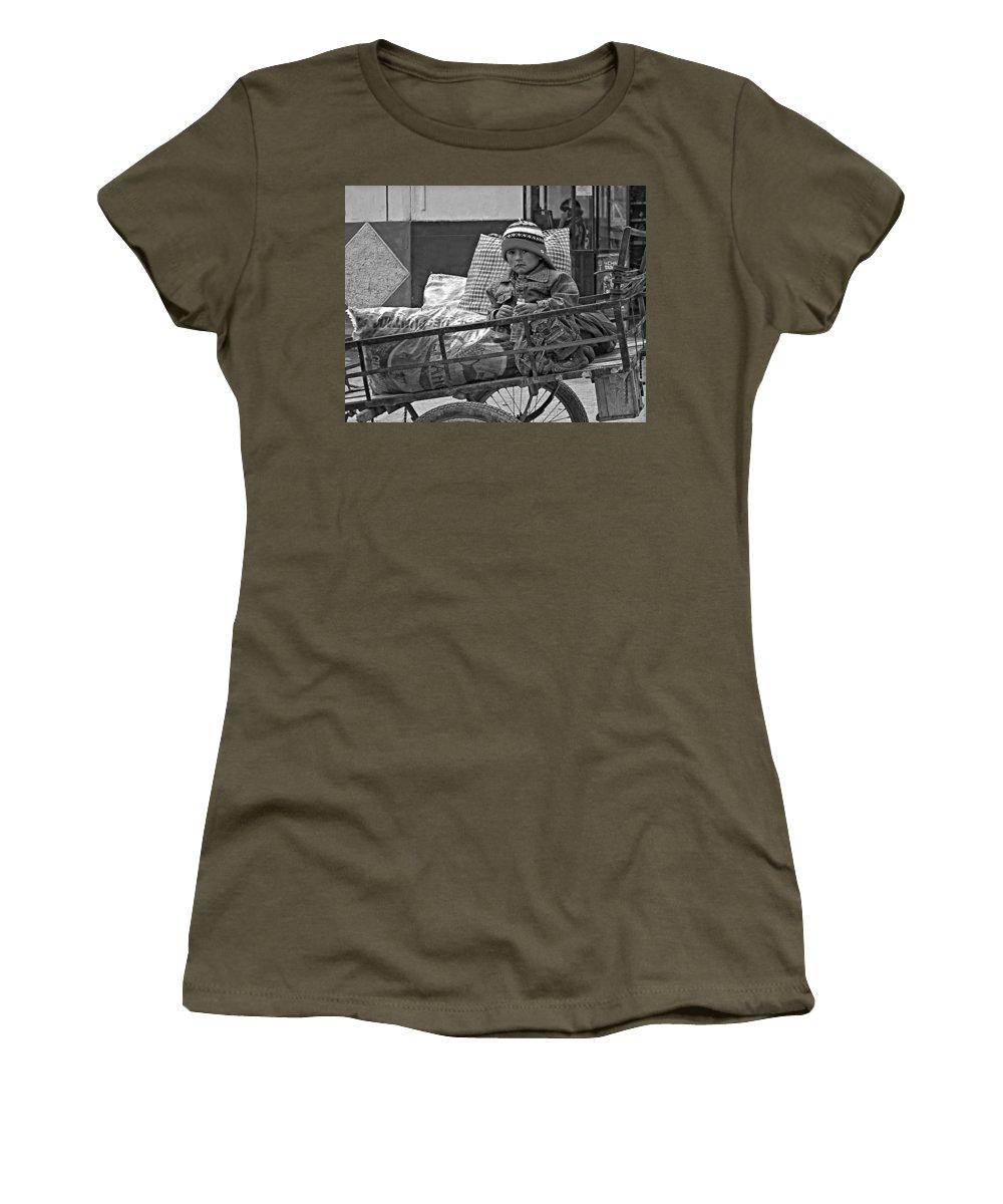 Peru Women's T-Shirt featuring the photograph Tiny Biker 2 Monochrome by Steve Harrington